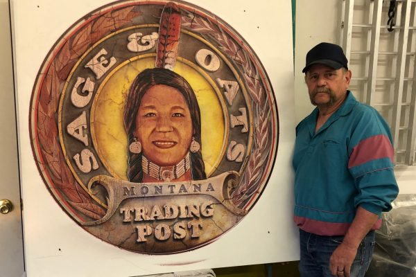 Sage & Oats Trading Post | Hand Carved Logo by Little Shell tribal member Jim Trueax