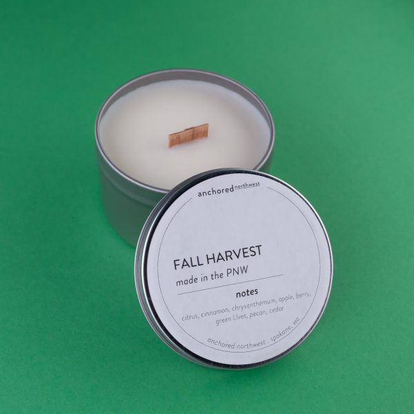 "6oz ""Fall Harvest"" Tin Candle by Anchored NW 