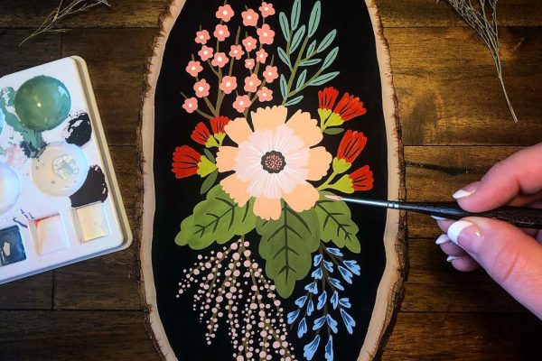 Annie Bailey Art | Hand Painted Flowers on Wooden Block | Billings, MT