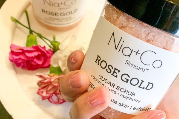 Nia+Co Rose Gold Sugar Scrub with Hands